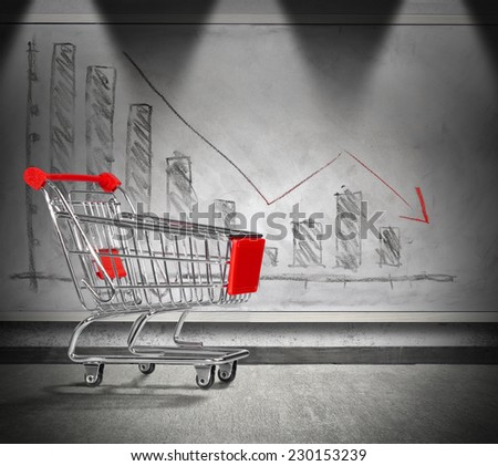 empty cart, crisis of home finance - charting in decrease  - stock photo