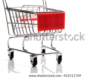 Empty cart isolated over white, business background