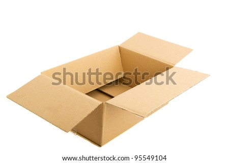 Empty carton box isolated over white background