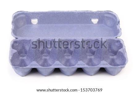 Empty carton egg box. Isolated. - stock photo