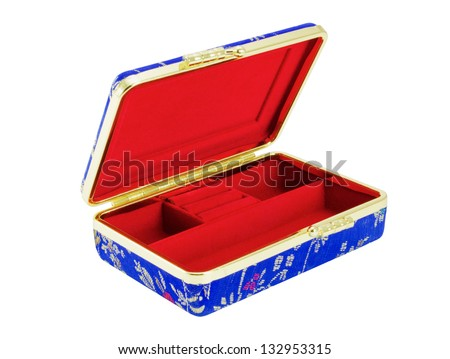 Empty Casket for jewelry, separately on a white background - stock photo
