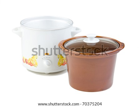 Empty casserole pot for cooking isolated on white background