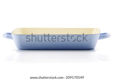 Empty Cast Iron Baking Casserole Dish isolated on white Background - stock photo