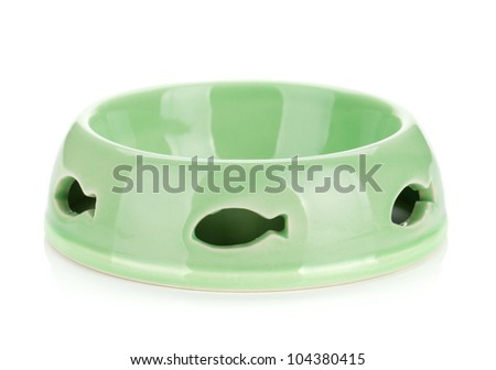 Empty cat food bowl. Isolated on white background - stock photo