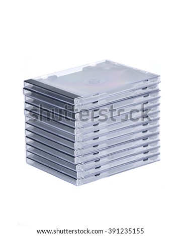 Empty cd, dvd case separated on white background - stock photo