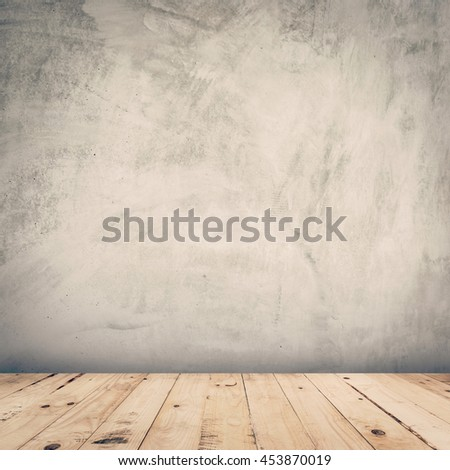 empty cement wall and wood floor background with space
