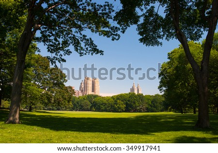 Empty Central park in the morning, New York City - stock photo