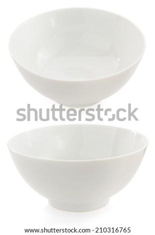 empty ceramic bowl isolated on white background - stock photo