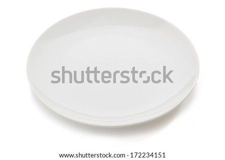empty ceramic plate isolated on white