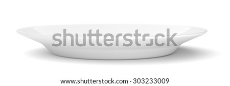 Empty ceramic round plate isolated on white background - stock photo