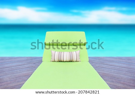 empty chair on sea background - stock photo