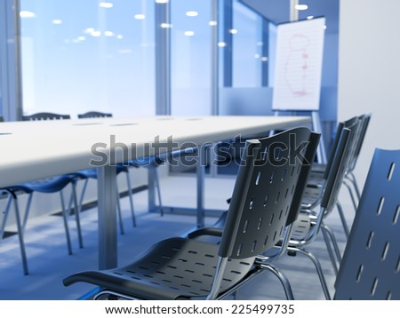 Empty chairs in a business boardroom, shallow depth of field - stock photo