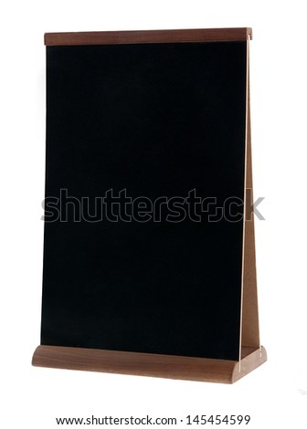 Empty chalk board (people stopper) isolated on white  - stock photo