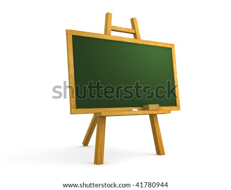 Empty chalkboard on white background. Computer generated image. - stock photo