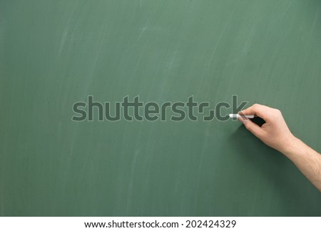 empty chalkboard with hand and chalk / Chalkboard