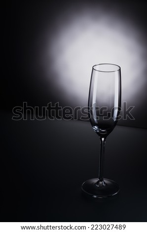 empty champagne glass on background