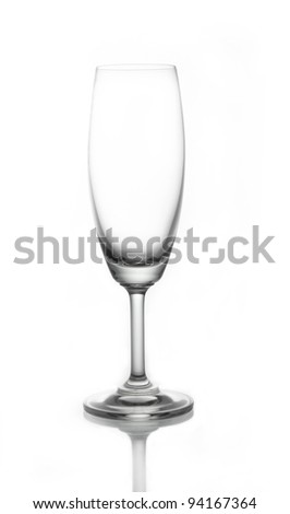 Empty Champagne glass on white background