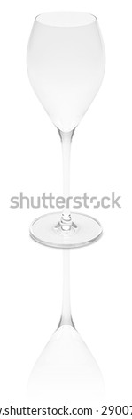 Empty champagne glass, white, water and red wine