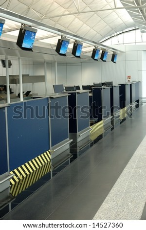 Empty check-in counters in a international airport