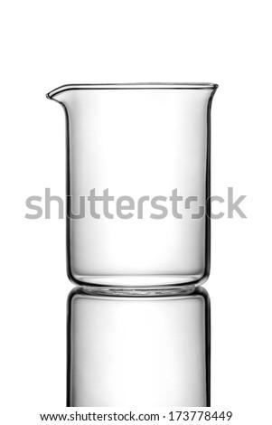 Empty chemistry flask on white - stock photo
