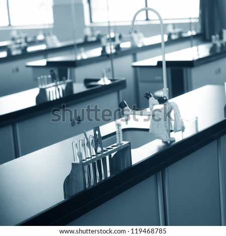 empty chemistry laboratory in a middle school in China. - stock photo