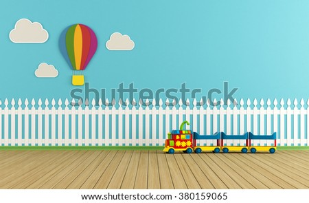 Empty child room with  fence,clouds and hot-air balloon on blue wall - 3d rendering - stock photo