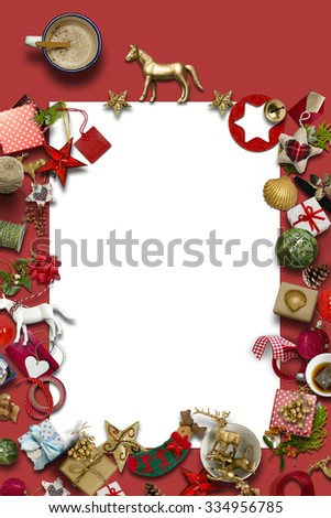 empty Christmas card, collection, gifts and decorative ornaments, on red background. photographic montage - stock photo