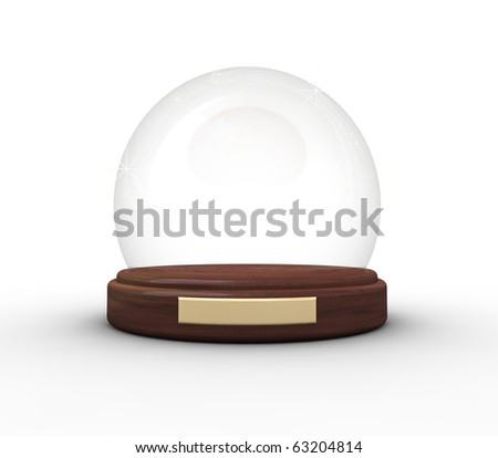 Empty Christmas dome isolated on wide, narrow angle from top view.