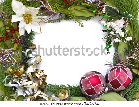empty christmas frame for your pictures or writing
