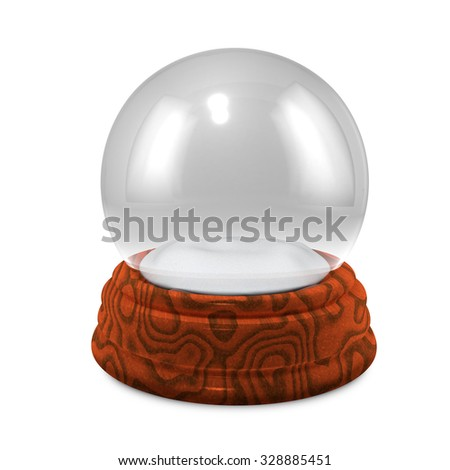 Empty Christmass glass snowglobe with wooden base isolated on white background. - stock photo
