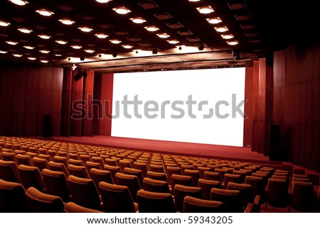 Empty cinema auditorium. Projection screen is ready for adding a picture - stock photo