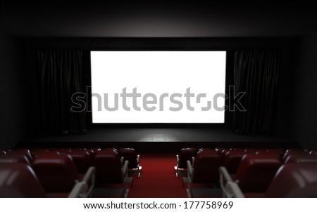 empty cinema auditorium with blank screen frame illustration - stock photo