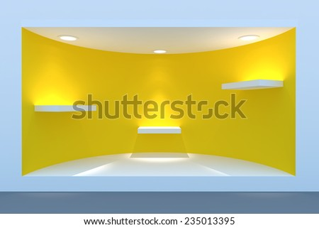 Empty circle storefront or podium with lighting and a big window - stock photo