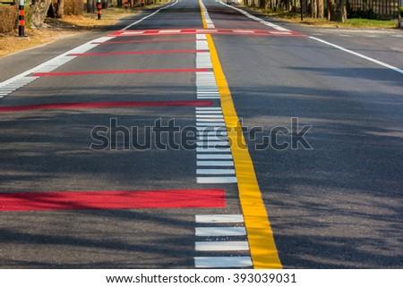 Empty city road - stock photo