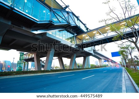 Empty City road surface floor with viaduct bridge   - stock photo