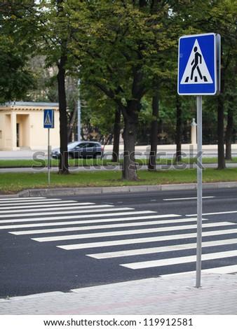empty city street and zebra - stock photo