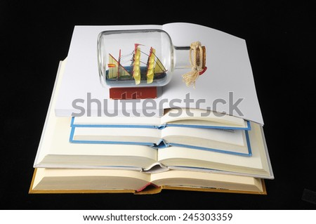 Empty Classic Book Isolated over a Black Background - stock photo
