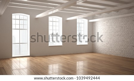 Empty Classic Industrial Space Open Room With Wooden Floor And Big Windows Modern Interior