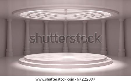 Empty Classic Interior - 3d illustration - stock photo