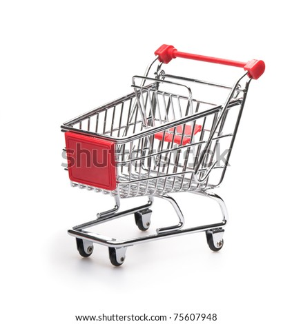 Empty classic shopping cart over white