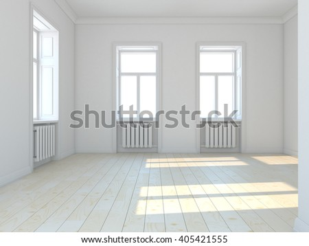 Empty classic white  room with windows. 3D illustration - stock photo