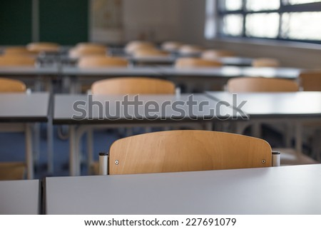 empty classroom background - stock photo