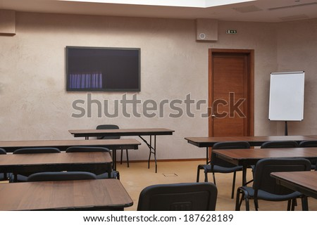 Empty classroom from rear view