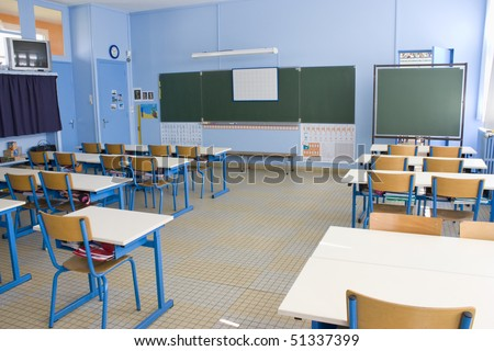 Empty classroom in first grade school
