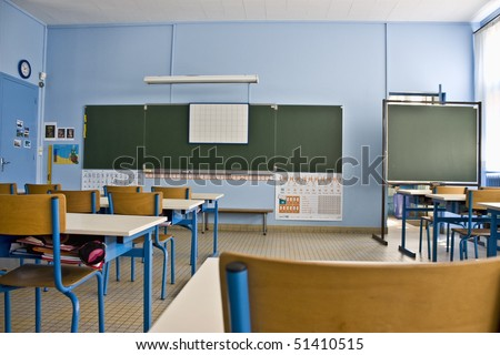 Empty classroom in first grade school - stock photo