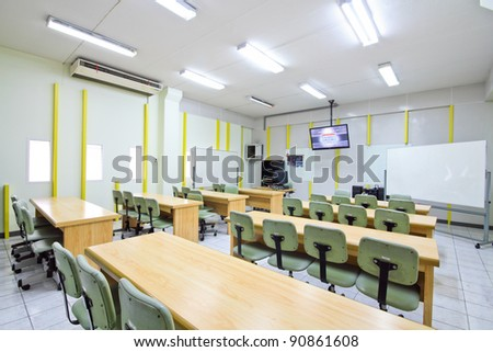 Empty classroom in university at  Thailand. - stock photo