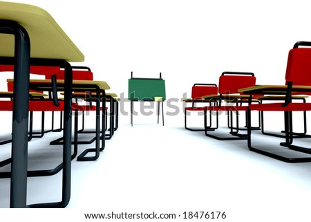 Empty classroom isolated