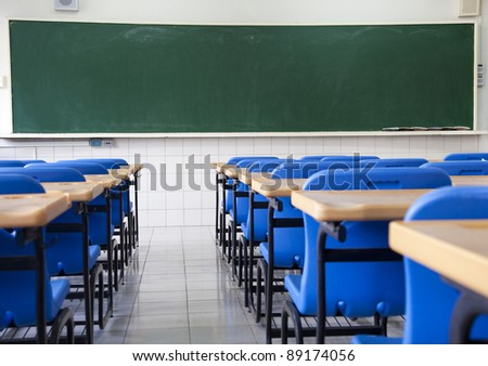 Empty  classroom of school - stock photo