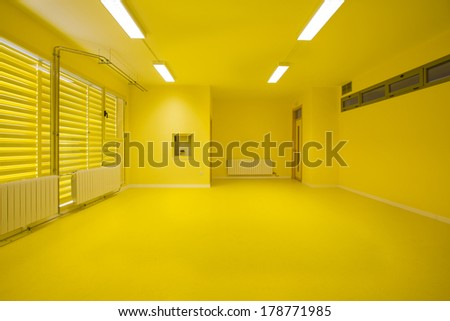 Empty classroom, yellow. - stock photo