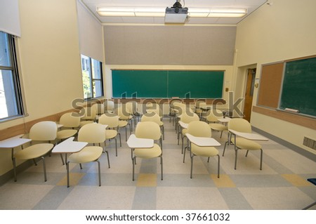 Empty Classrooms in college - stock photo